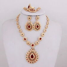 Red Zircon Gold Plated Rhinestone Women Necklace Earring African Jewellery Set