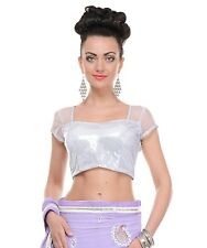 Women Dressy Tops - Sequin Blouse Silver Shimmering Padded Fashion Choli 36""