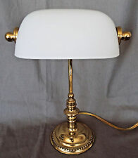 Bankers Piano Lamp Brass Base White Frosted Vintage Glass Shade Bulb Included