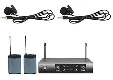 Professional UHF Dual Wireless Lavalier Lapel Clip-on Microphone System