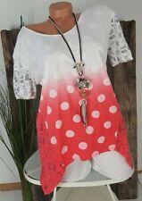 NEU LINDSAY ITALY VINTAGE SOMMER TOP SHIRT DOTS CAT PRINT COOL CORAL-WEIß 36-42