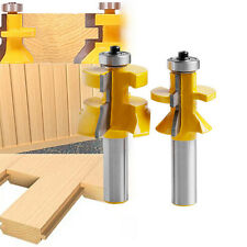 """2pcs 1/2"""" Shank V-Joint V-notch Tongue & Groove 1-1/8"""" Matched Router Bit"""