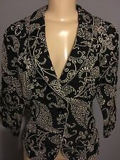 CABI 6 Jacket Black Ivory Floral Tapestry Cotton #312 Poly Rayon