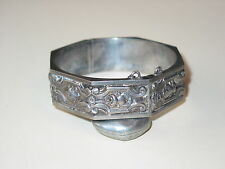 Antique Art Nouveau Octagonal Sterling Hinged Bangle ~ All Over Flowers ~