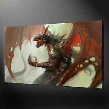 RED MEDIEVAL DRAGON FANTASY PICTURE POSTER CANVAS PRINT 30 X 20 Inch WALL ART