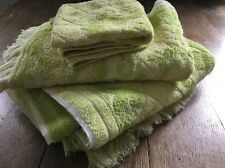 VINTAGE LOT OF MH JCPENNEY MATCHING GREEN BATH  HAND TOWELS WASHCLOTHES