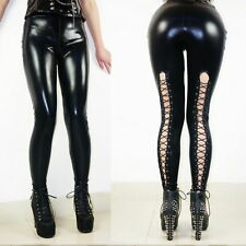 New Women's Sexy Black PVC Faux Leather Pants Wet Liquid Look Bandage Leggings