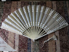 STUNNING Antique Vintage LARGE Victorian French Silk Hand Held Fan 18 Blades