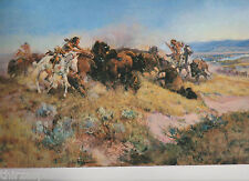 """Charles  Russell,""""Buffalo Hunt #40"""" Print of Native Americans,Western Art"""