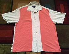 Mens Nat Nast 100% Silk Pink Button Front Shirt S/S Bowling Polo Sz Large Beige