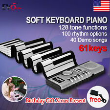 Portable 61 Keys Roll Up Digital Electronic Soft Keyboard Piano with Adaptor