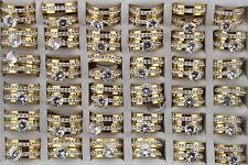 35pcs Wholesale Lots Stainless Steel Clear Rhinestone Wedding 2 in 1 Rings AH345