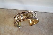 CELTIC KNOT BRASS AND COPPER BANGLE CUFF BRACELET New! SPIRITUAL JEWELRY Cat Res