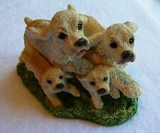 """Stone Critters Blonde """"Cocker Spaniel Family"""" Hand Painted Dog Figurine"""
