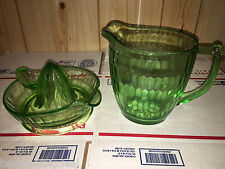 Old Green Depression Glass Measuring Cup Pitcher & Juicer Set of 2