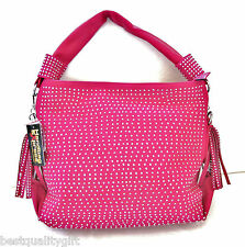 NEW-HANDBAG EXPRESS FUCHSIA LEATHERETTE+CRYSTAL CUT STUDS+SILVER TOTE,PURSE,BAG