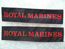 Patches - ROYAL MARINES Shoulder Title Cloth Patch PAIR (New*, 11.5x2.5)