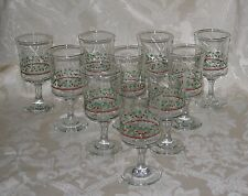 Arby's 12 Oz Holiday Christmas Holly Berry Goblet Gold Rim Water/Wine Glasses