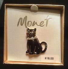 Vintage New In Box Monet Enamel Cat Rhinestone Collar/Green Eyes Pin/Brooch