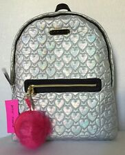 NWT BETSEY JOHNSON HEART QUILTED NYLON BACKPACK GREY $98