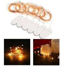 6x 2M 20 LED Warm White Battery Powered Copper Clear Wire Fairy Light Xmas Decor