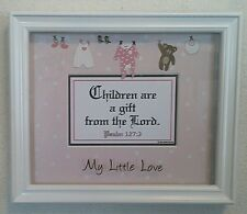 "Bible Scripture Plaque Christian""CHILDREN ARE A GIFT FROM...LORD""for Baby Girls"