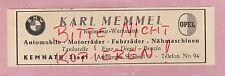 KEMNATH, Werbung 1949, Adam Opel AG Opel-BMW-Gross-Händler Karl Memmel Reparatur
