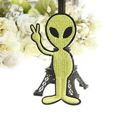 Green UFO Space Peace Alien Embroidered Fabric Sew Cloth Applique Patch Badge