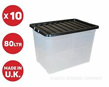 10 x 80 LITRE PLASTIC STORAGE BOXES - STRONG - EXTRA LARGE - BLACK LID - CHEAP