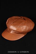 Tan GATSBY HAT Real Lambskin 100% Leather Cabbie Newsboy Bakerboy Golf Cap