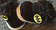 Unisex baby booties 0-3months  Batman Hand Knitted By Annie