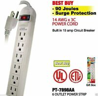 6 OUTLET SURGE PROTECTOR POWER STRIP WITH SAFETY CIRCUIT BREAKER - 18 INCH CORD