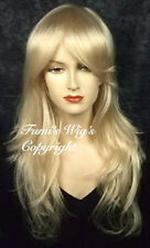 Silky Long Layered Semi Wavy Blonde Wig from Fumi Wigs