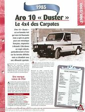 4X4 Aro 10 Duster 4 Cyl. 1985 Roumanie Romania Car Auto Voiture FICHE FRANCE