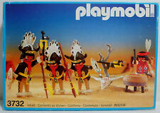 PLAYMOBIL GEOBRA VTG 1988 # 3732 WESTERN INDIAN BUFFALO DANCERS 100% COMPLETE