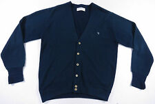 VTG CHRISTIAN DIOR MONSIEUR ACRYLIC KNIT BLUE CARDIGAN SWEATER EUC MENS L