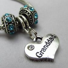 Granddad European Charm Pendant And Birthstone Beads For Large Hole Bracelets