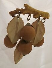 Whimsical 1930's AUTUMN Themed Acorns & Leaves Celluloid Brooch Pin