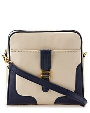 "NWT CHARLOTTE RONSON ""Classics"" Leather Crossbody BAG Purse Stone/Navy $198.00"