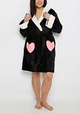 NEW WOMENS PLUS SIZE 3X PANDA BEAR HOODED PLUSH HOUSE BATH ROBE W HEART POCKETS