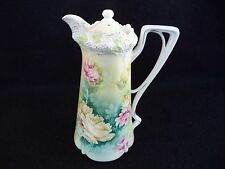 RS Prussia china chocolate pot stippled floral mold 525 yellow pink roses