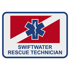 "Swiftwater Rescue Technician 4"" Rectangular Reflective Decal Sticker"