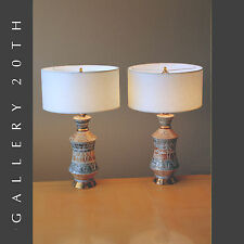 WOW! PAIR OF MID CENTURY MODERN ATOMIC TABLE LAMPS! Eames Vtg Retro 50s 60s Gold