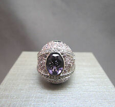 Rhinestone Gem Ring Dome 925 Sterling Silver Purple Pink Stones Size 6.5