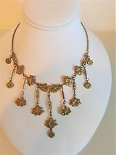 Beautiful Vintage 1930's Deco Stamped Brass Floral Festoon Necklace
