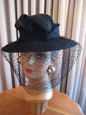 STAND OUT 40'S BLK FELT WIDE BRIM TILT HAT W/FELT LEAVES & VEIL