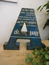 """Hand Made, Vintage Style 3D Industrial Tin Letter A 12"""" Tall Alphabet"""