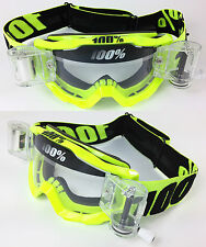 100% PERCENT ACCURI MOTOCROSS GOGGLE FLOU YELLOW with GS ROLL OFF CANISTERS GSVS
