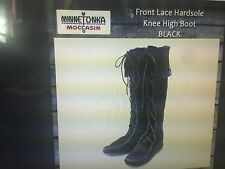 NEW Minnetonka Moccasin Knee Hi Black Suede Leather Front Tie Boot #1429 Size 9