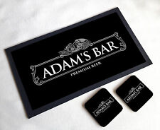 Personalised Silver Beer Label Home bar gift set bar runner 2 coasters